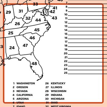 Numbered United States Map - Label American States Clip Art Set Commercial Use
