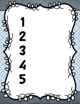 """Numbered """"What Do You Need?"""" Easy Classroom Management System {Grey & Blue}"""