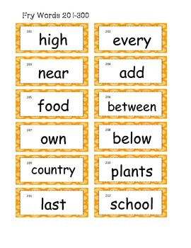 Numbered fry words 1-100 to use on the word wall or flash cards