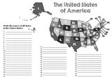 Numbered map of the United States - Name all 50 states
