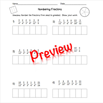 Numbering Fractions From Least to Greatest Worksheet