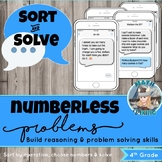 Numberless TEXT MESSAGE Word Problems! Sort & Solve! Grade 4 Test Prep