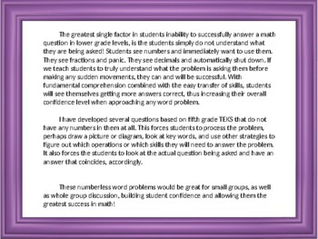 Numberless Word Problems