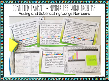 Numberless Word Problems - Adding and Subtracting Large Numbers