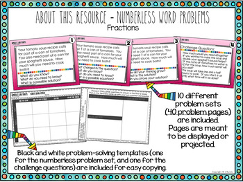 Numberless Word Problems - Fractions