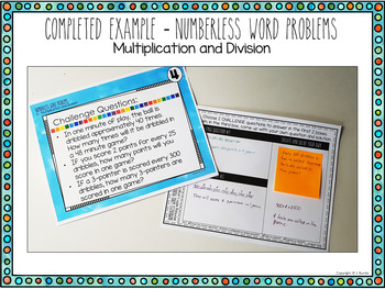 Numberless Word Problems - Multiplication and Division
