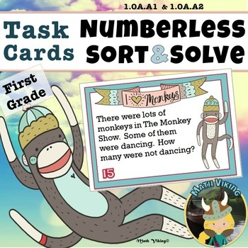 Numberless Word Problems SORT & SOLVE Grade 1.OA.A1 Addition Subtraction