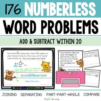 Numberless Word Problems - Numbers 1 - 20 (DIGITAL and Printable)