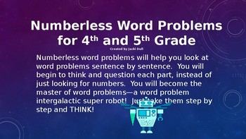 Numberless Word Problems for 4th and 5th Grade Part 2