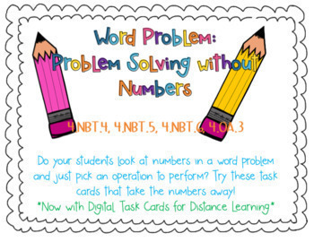 Numberless Word Problems for Problem Solving