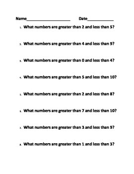Numberline Activity/center - Greater than and less than
