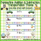 Numberline Addition & Subtraction: Transportation {one-time prep math lesson}