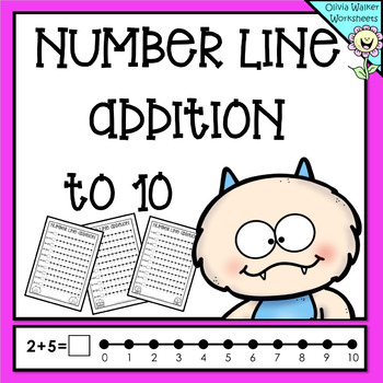 Numberline Addition to 10 (Ten) Worksheets and Printables (Number line)