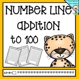 Numberline Addition to 100 (One Hundred) Worksheets and Printables (Number line)