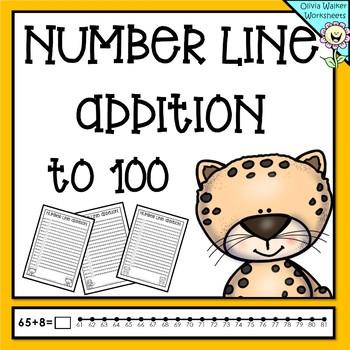 Numberline Addition to 100 (One Hundred) Worksheets and Printables (Number line)