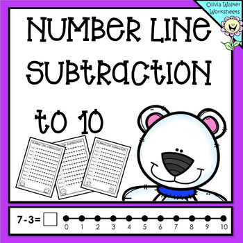 Numberline Subtraction to 10 (Ten) Worksheets and Printables (Number Line)