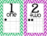 Numberline Wall Display 1-20 Numerical Form, Written Form, 10 Frame