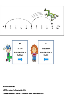 Numberline Zip lock baggy slide Activity
