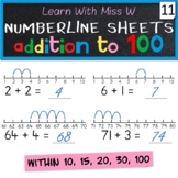 Numberline addition worksheets