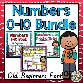 Numbers 0-10 Bundle QLD Beginners Font: Worksheets, Posters, Activities