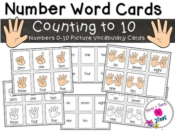 Numbers 0-10 Counting Picture Vocabulary Word Cards