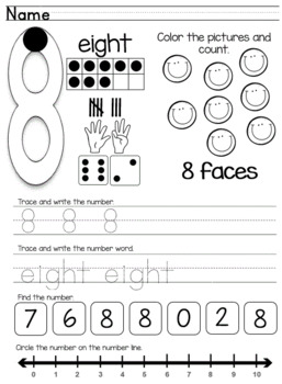 Numbers 0-10 Learning Worksheets