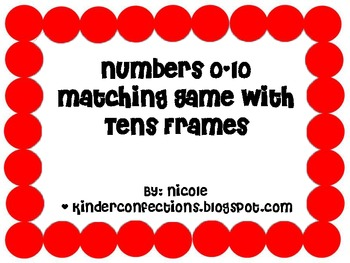 Numbers 0-10 Matching Game