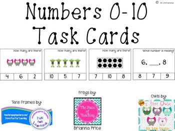 Numbers 0-10 Task Cards