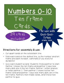 Numbers 0-10 Ten Frame Cards (For use with Quiz-Quiz-Trade)