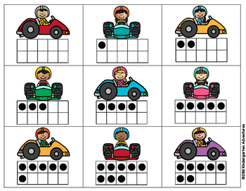 Numbers 0-10 and Ten Frame Matching Game-Car Theme