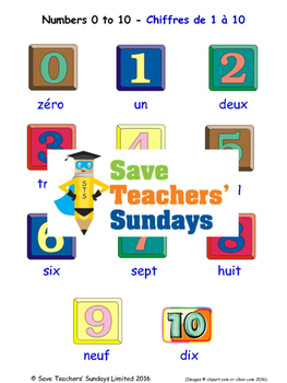 Numbers 0-10 in French Worksheets, Games, Activities and Flash Cards