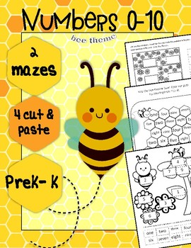 Numbers 0-10, mazes, cut & paste, Bees Spring / English version