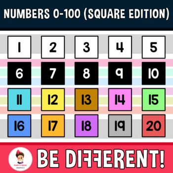 Numbers 0-100 Clipart (Square Edition)