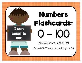 Numbers: 0-100 Flashcards (bw) (Numerals only)