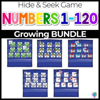 Numbers 0-120 Hide & Seek Pocket Chart Cards   ENDLESS BUNDLE