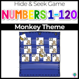 Numbers 0-120 Hide & Seek Pocket Chart Cards | Monkey/Zoo Theme