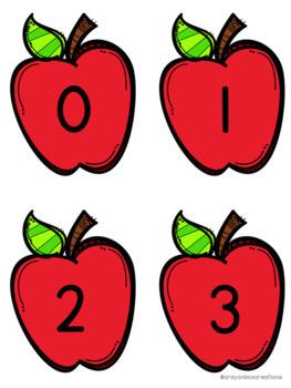 Numbers 0-100 Hide and Seek Pocket Chart Game - Apples