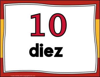 Numbers 1-100 Posters Spanish : Español números 1-100