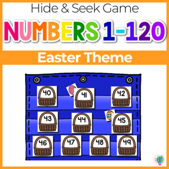 Numbers 0-120 Hide & Seek Pocket Chart Cards | Easter Theme