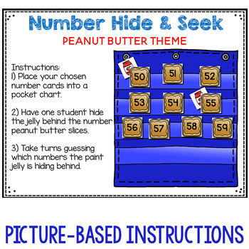 Numbers 0-120 Hide & Seek Pocket Chart Cards | Peanut Butter and Jelly Theme