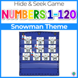 Numbers 0-120 Hide & Seek Pocket Chart Cards | Snowman Theme