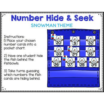 Numbers 0-120 Hide & Seek Pocket Chart Cards   Snowman Theme