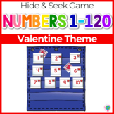 Numbers 0-120 Hide & Seek Pocket Chart Cards | Valentine Theme