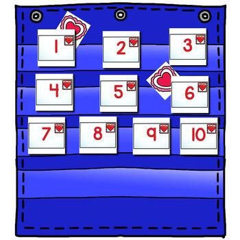 Numbers 0-120 Hide & Seek Pocket Chart Cards   Valentine Theme