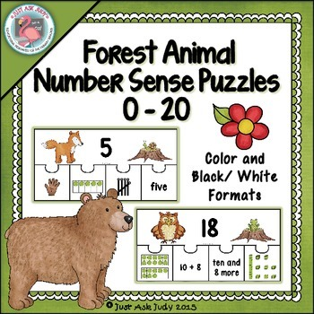 Number Sense 0-20 Forest Animal Puzzles
