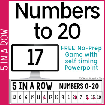 Numbers 0-20 5 in a Row: No Prep Game & Powerpoint