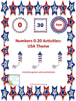 Numbers 0-20 Activities: United States Theme