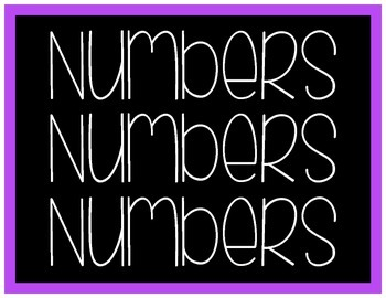 Numbers 0-20 Black with Bright Colors