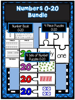 Numbers 0-20 Bundle- Number Book, 4 Piece Puzzles and 4 Sets of Number Puzzles