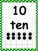 Numbers 0-20 Display with Ten Frame- Green Polka Dots!